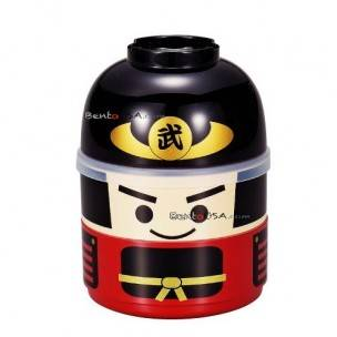Japanese Bento Box 2 tier Lunch Box Kokeshi Samurai Set