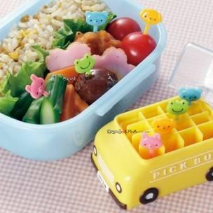 Japanese Bento Animal Food Pick with School Bus Case 8 pcs Set