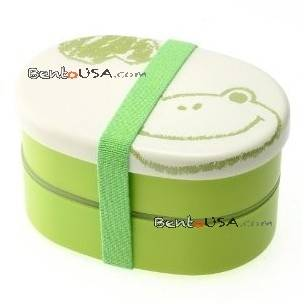 Japanese Bento Box 2 tier Lunch Box with Strap Frog