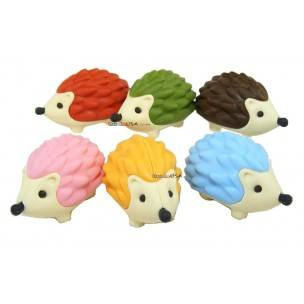 Cute Japanese Eraser Set Collectible Hedgehog 6 pcs