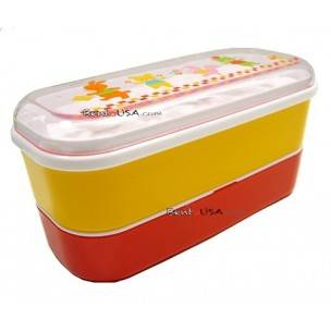 Microwavable Japanese Bento Box Red Yellow Lunch Box Animal 3 tiers