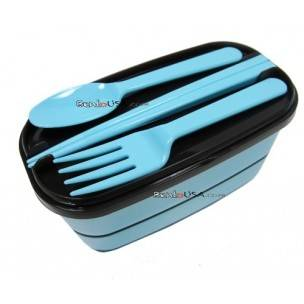 Japanese Bento Accessories Fork Spoon Chopsticks Case 4 in 1 Blue