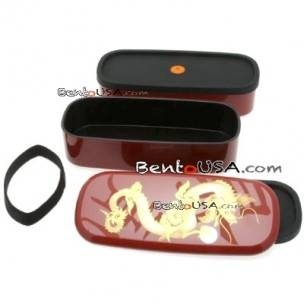 Japanese Lacquer Bento Lunch Box with Strap Gorgeous Red Dragon