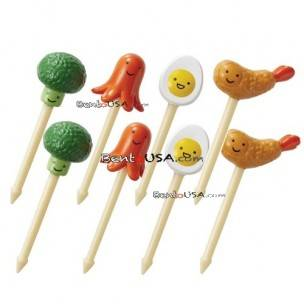 Japanese Bento Accessory 3D Food Picks Broccoli sausage, boiled egg, and fried shrimp food picks,