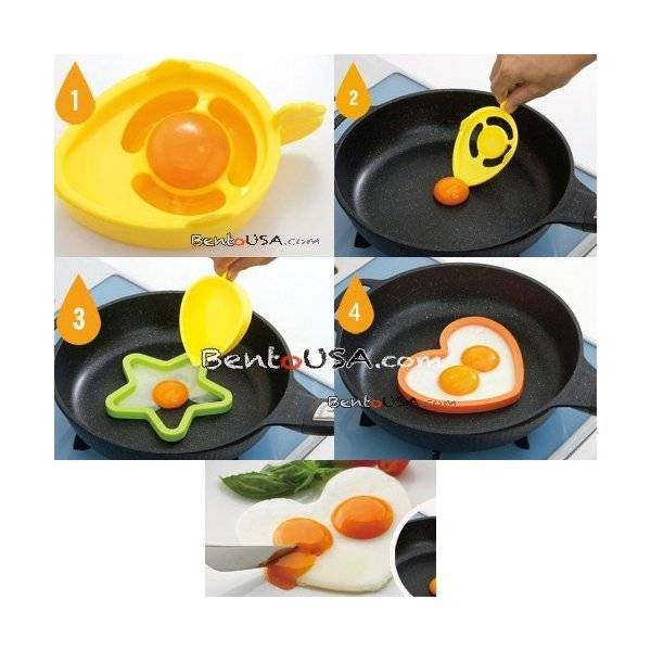 Bento Silicone Cooking Mold Deluxe set with Yolk Spoon