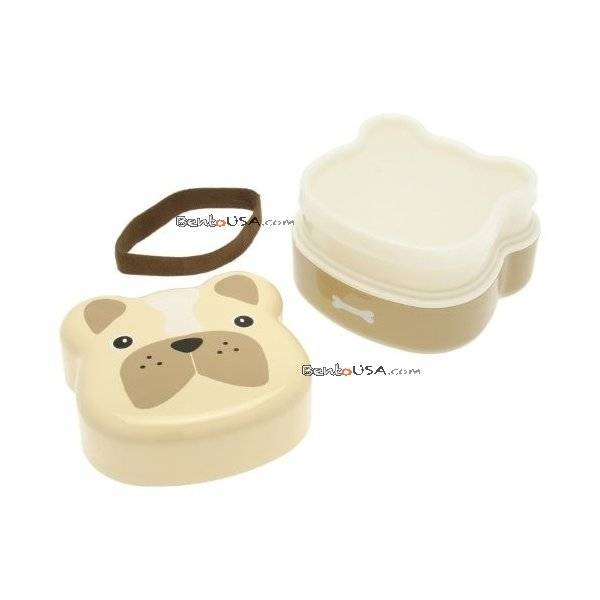 Japanese Bento Box 2 tier Lunch Box with Strap Dog Face