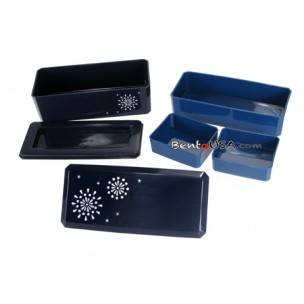 Japanese Bento Lunch Box Designer Set Slim Blue with Dividers