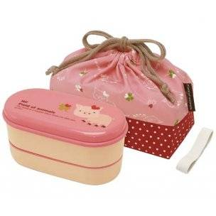 Pink pig 2 tier bento lunch box