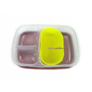 yellow food cup in larger bento lunch box