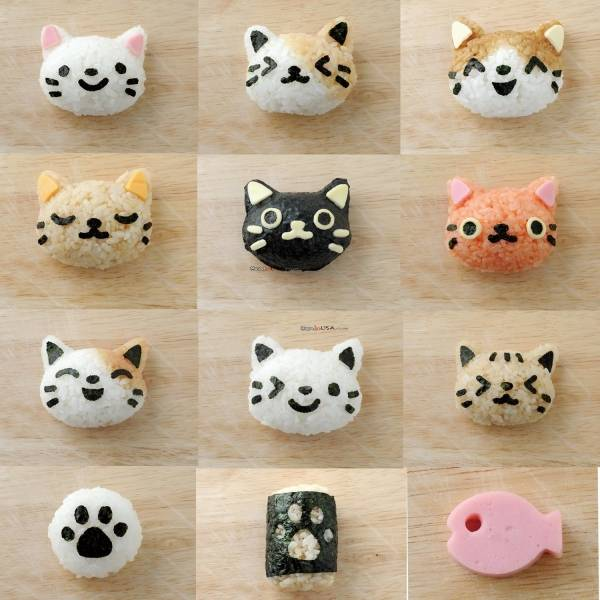 Japanese 3D Cat Bento Rice Mold and Seaweed Nori Cutter Set
