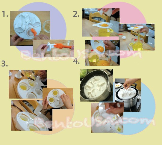 Japanese Decorative Hard Boiled Yolk Egg mold, 4 cute designs