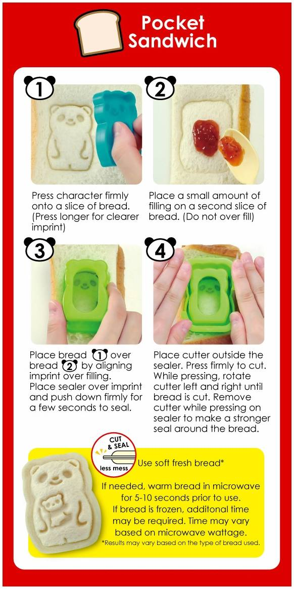 CuteZcute Mini Pocket Sandwich Maker and Egg Mold Kit - Panda, Baby Panda, Bat, Monkey and Sheep